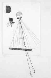 Untitled, 10,5 x 19 x 2 cm, graphite and ironwire on paper, 2013
