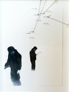 Untitled, 23 x 32 x 1 cm, thread, iron wire, photocopy, collage on paper, 2011