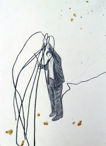 Untitled, 22 x 30 cm, pencil, gold leave on paper, 2009