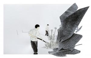 Het zeegras moest maar eens verhuizen, 29 x 42 x 4 cm, pencil, acrylic, collage on paper, 2008