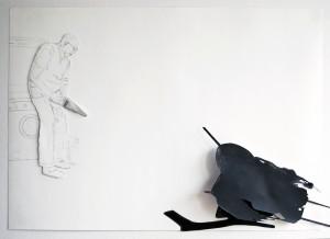 zonder titel_40 x 57 x4 cm, acrylverf, potlood, collage op papier_2007