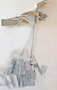 Zonder titel 2018, potlood, ijzerdraad, collage op papier, 30 x 38 cm